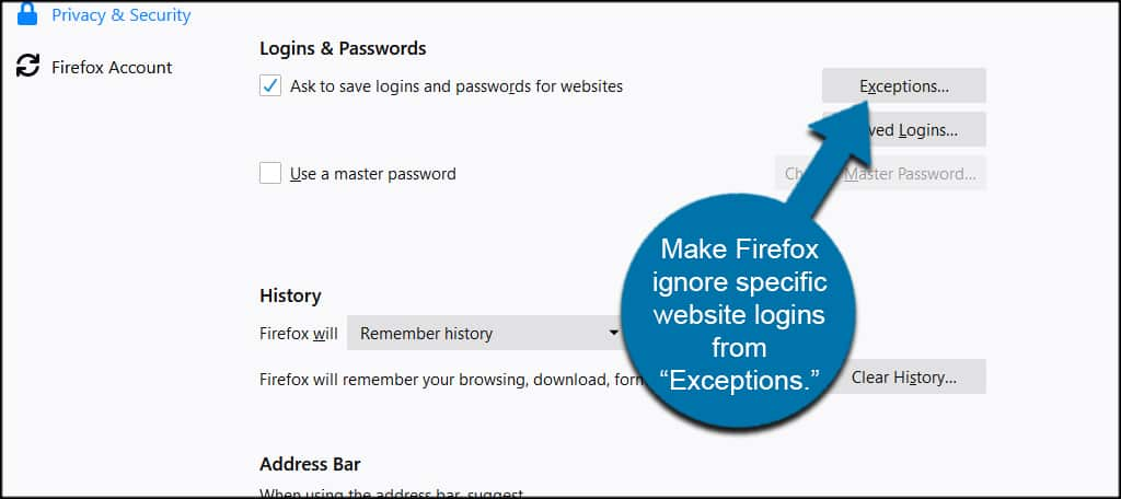 Firefox Ignore Logins