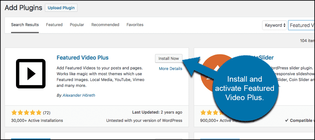 Install and activate featured video plus plugin