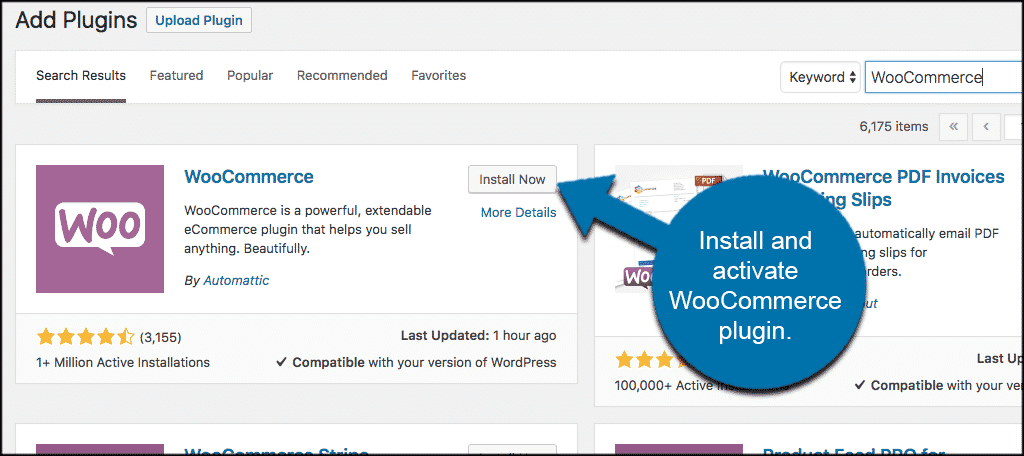 Install and activate the woocommerce plugin