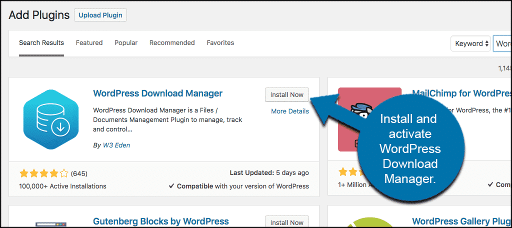 Install and activate the wordpress download manager plugin