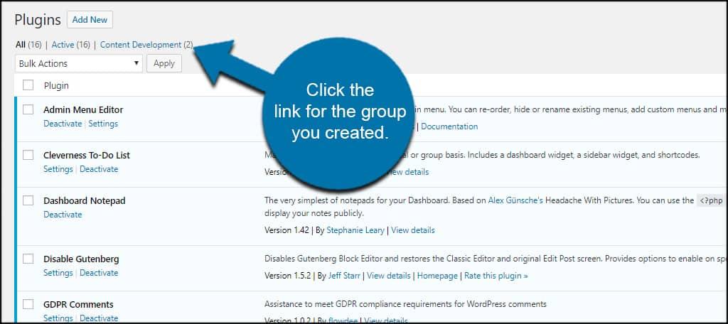 Plugin Group Link