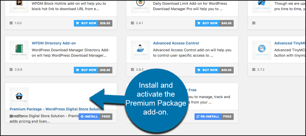 Install and activate the premium package add on
