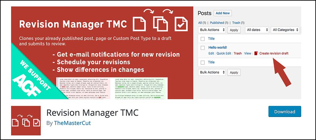 Revision manager TMC plugin