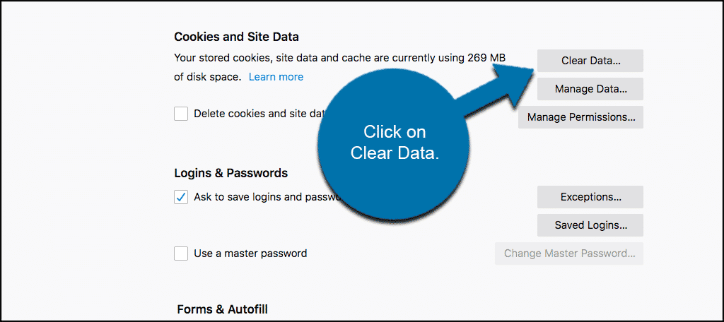 Clear data to clear Firefox browser cache