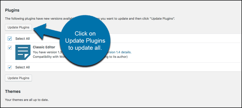 Click on update plugins to update all plugins
