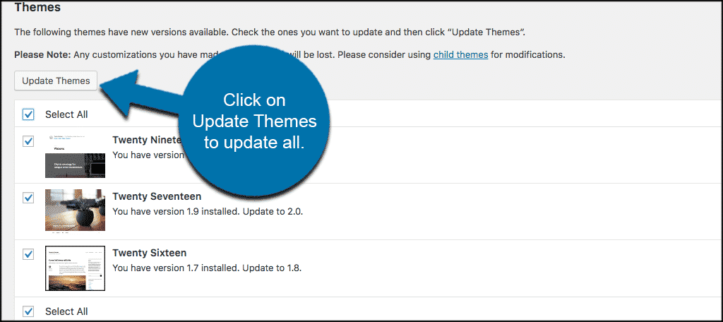 Select wordpress themes to update or update all
