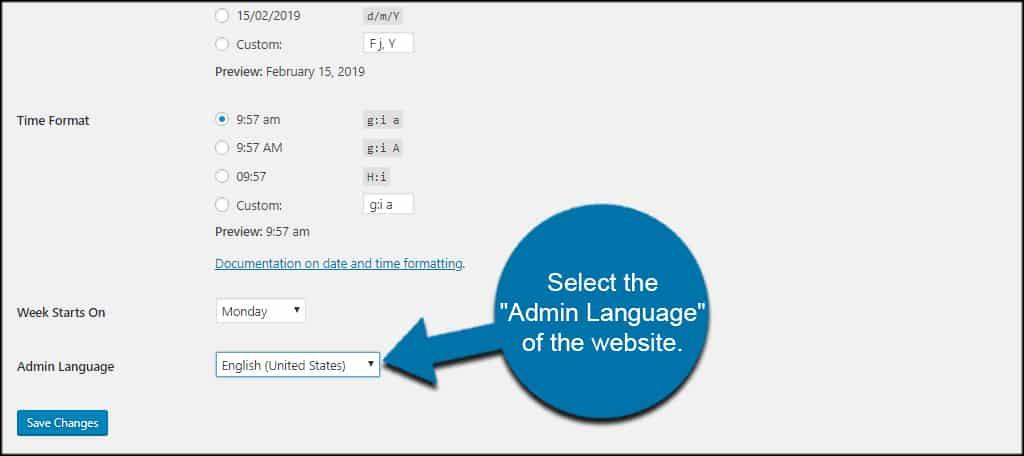 Set Admin Language