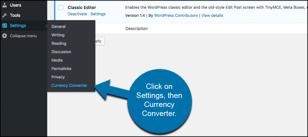 Click on settings, then currency converter