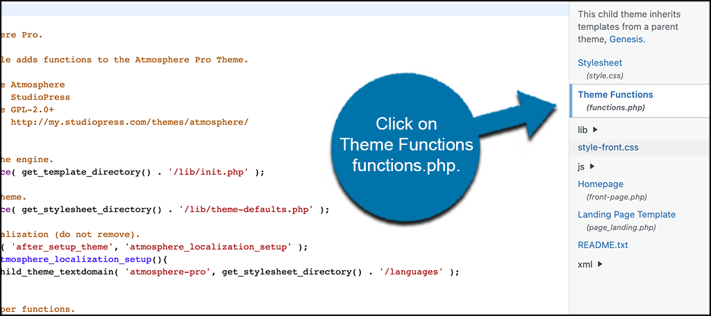 Click on functions php file