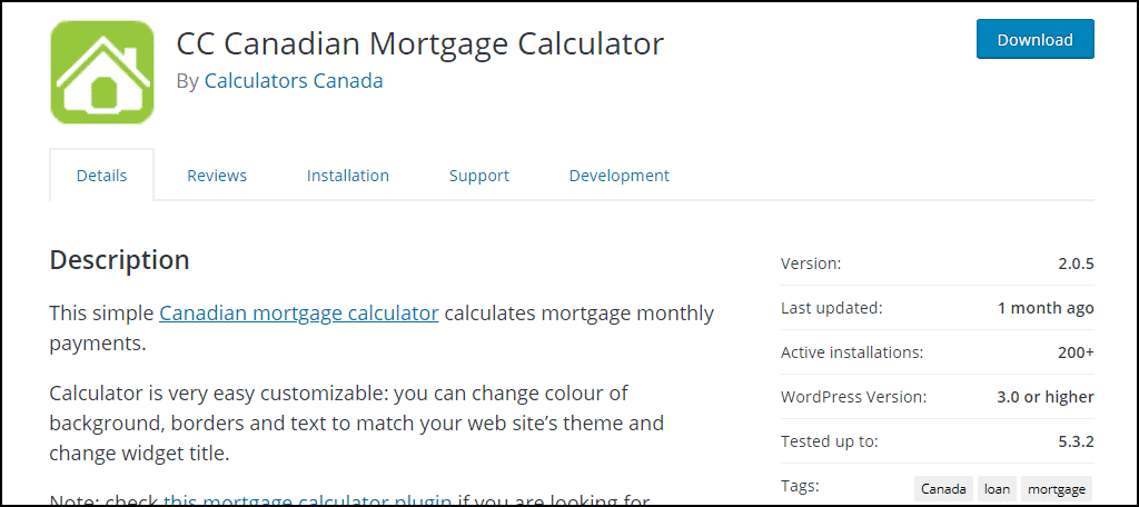 CC Canadian Mortgage Calculator plugin