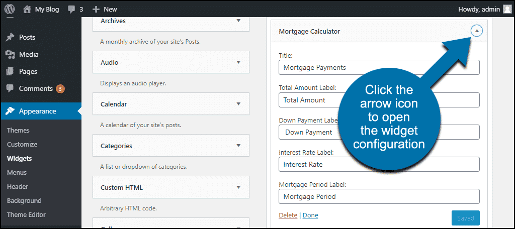 mortgage calculator widget configuration