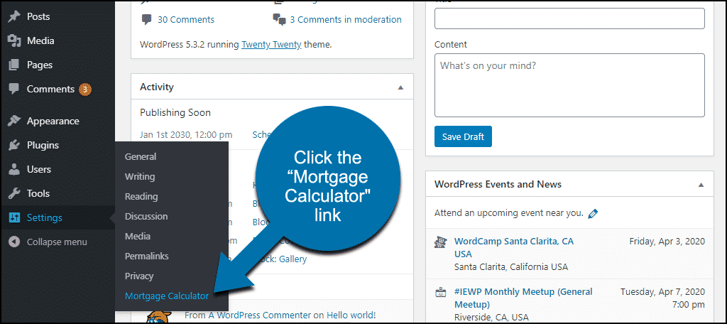 "click the ""Mortgage Calculator"" link"