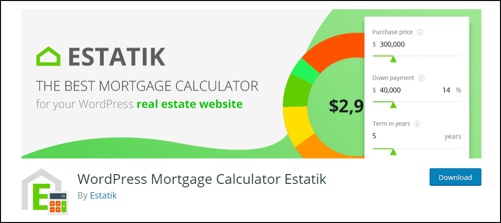 WordPress Mortgage Calculator Estatik plugin