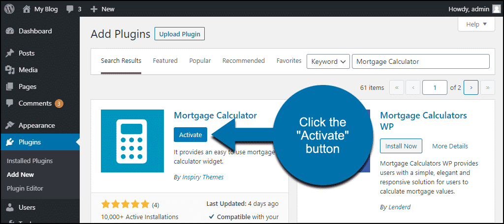 click to activate the WordPress Mortgage Calculator plugin