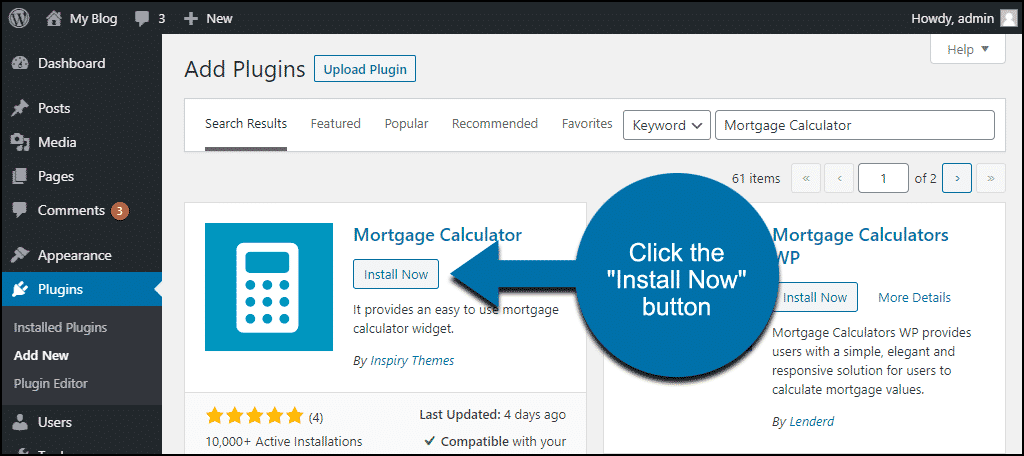 click to install the WordPress Mortgage Calculator plugin