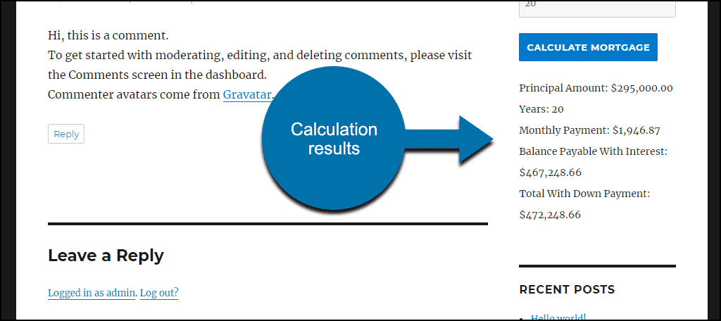 calculation results