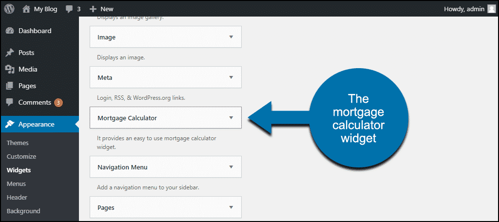 the mortgage calculator widget