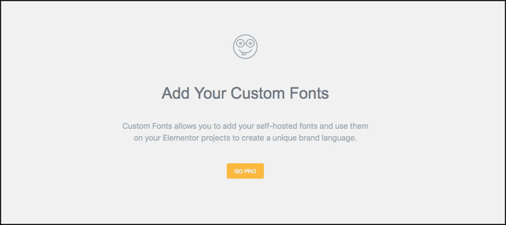Add custom fonts page if you don't have elementor pro