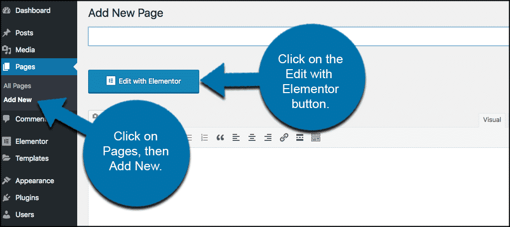 Click on add new page and then edit with elementor button