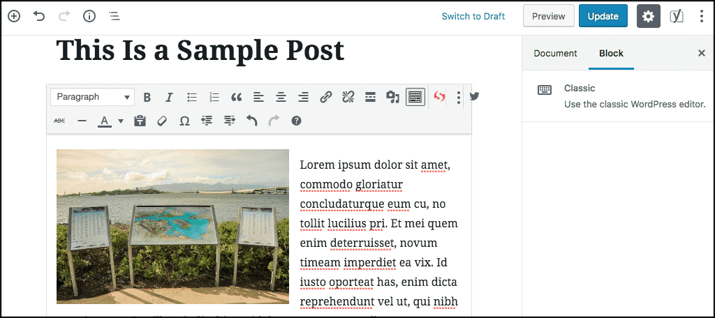 single block content in Gutenberg block editor
