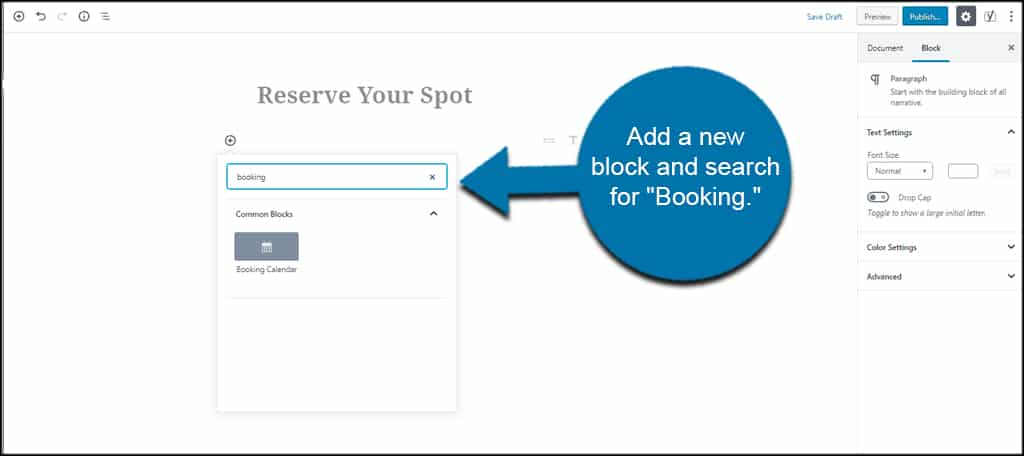 Booking Block
