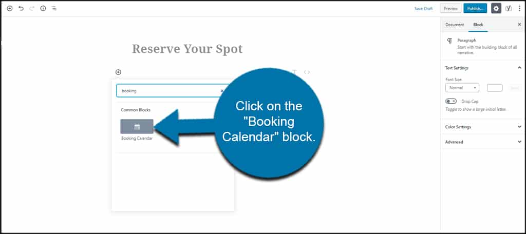 Booking Calendar Block