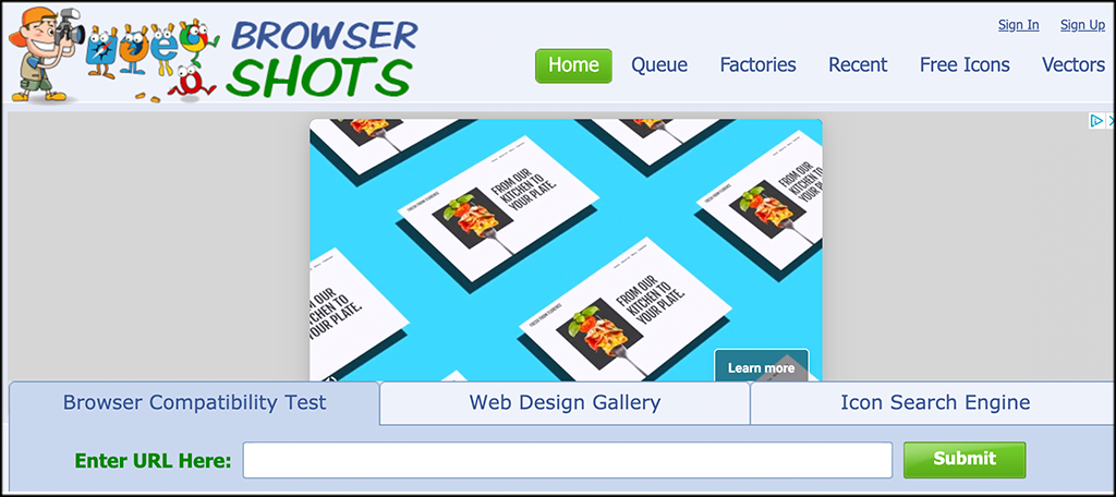 BrowserShots Website