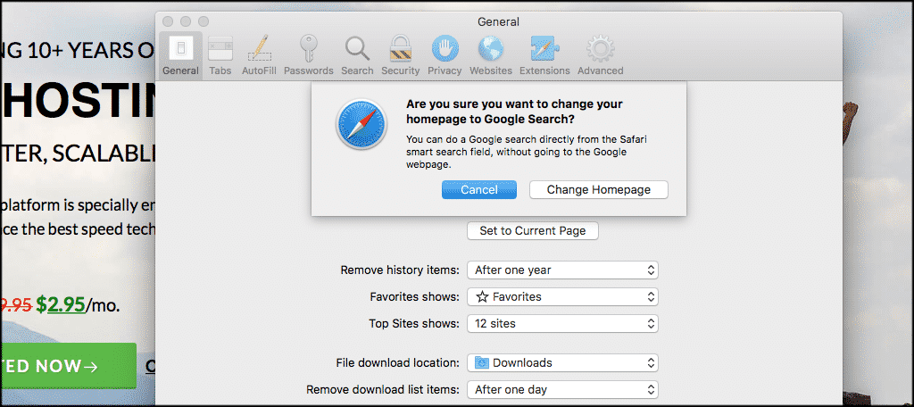 Click on the change homepage button to confirm changes