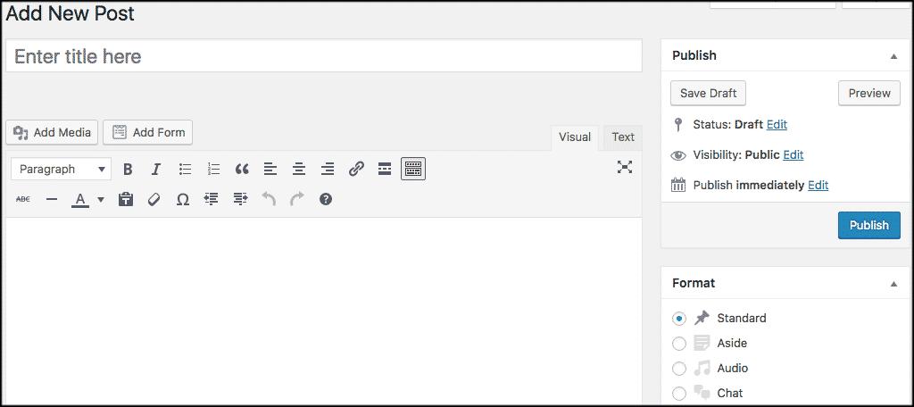 Classic wordpress editor view