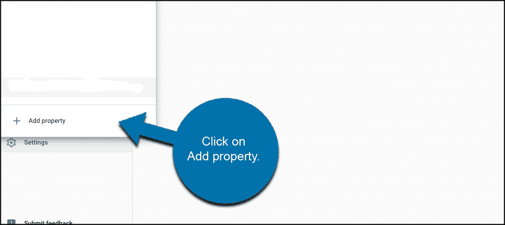 Click on add property to add your website