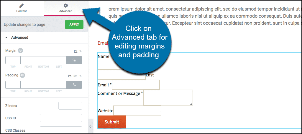 Click on Advanced tab for editing margins and padding