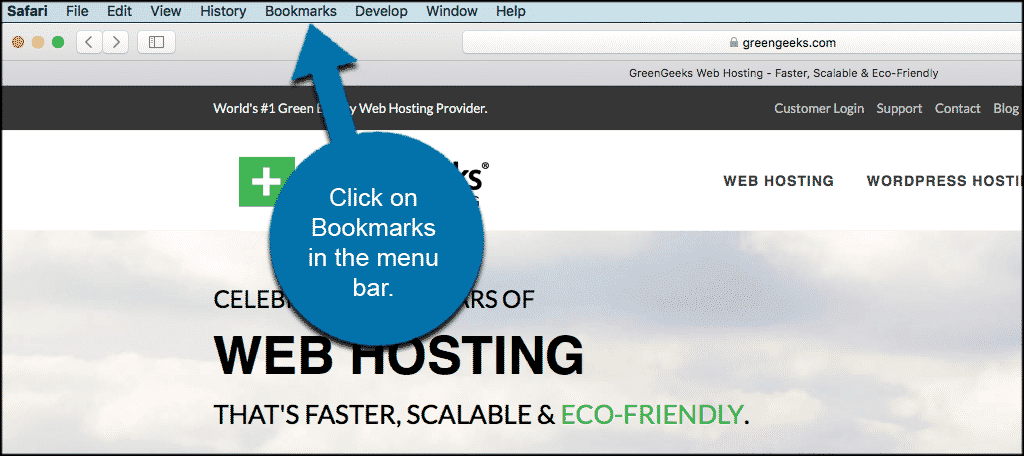 Click on bookmarks in the menu bar