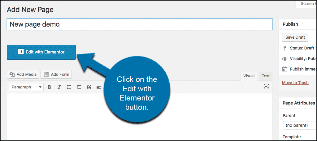 Click on the edit with elementor button