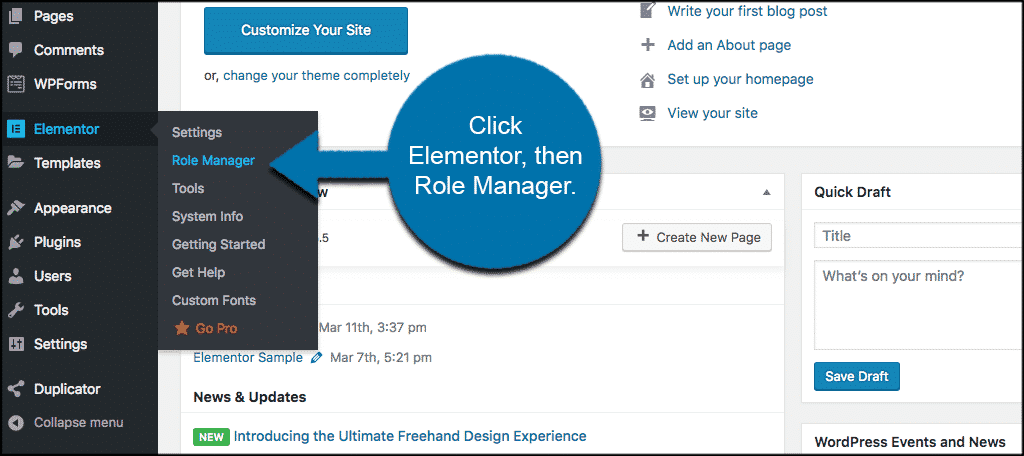 Click elementor then role manager to access user roles in elementor
