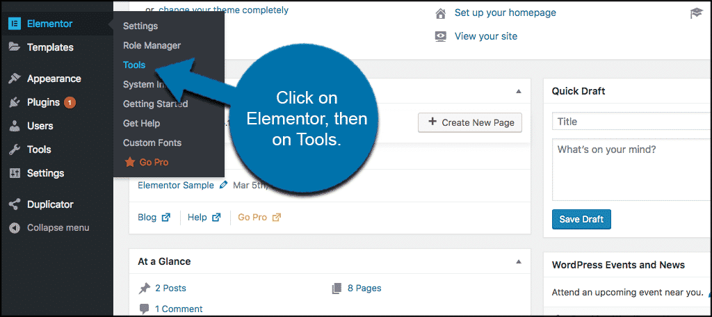 Click on elementor, then tools
