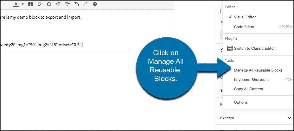 Click on manage reusable blocks