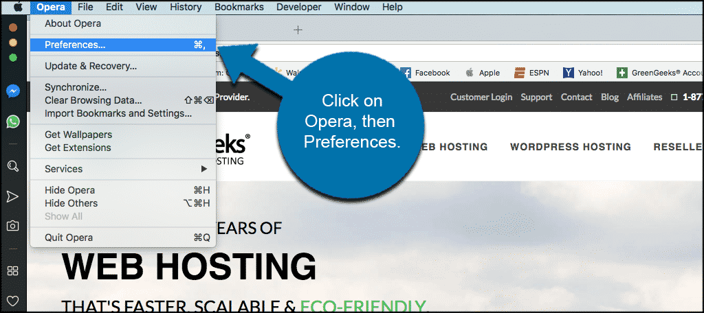 Click on opera then on preferences