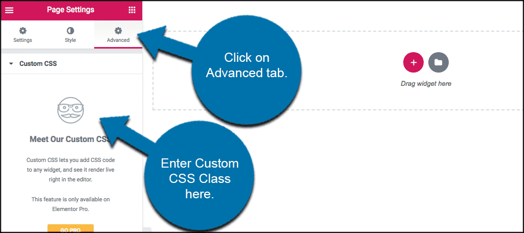 Click on advanced tab in elementor and add custom css classes