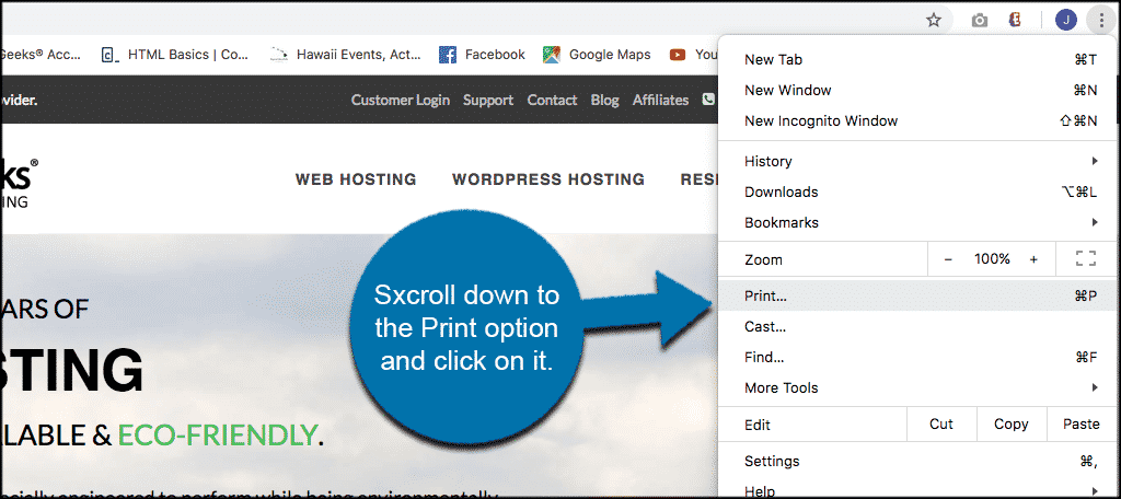 Scroll to print option and click on it