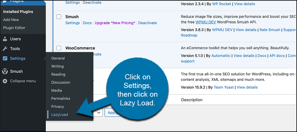 Click setting then lazy load