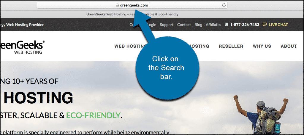 Click on the url search bar