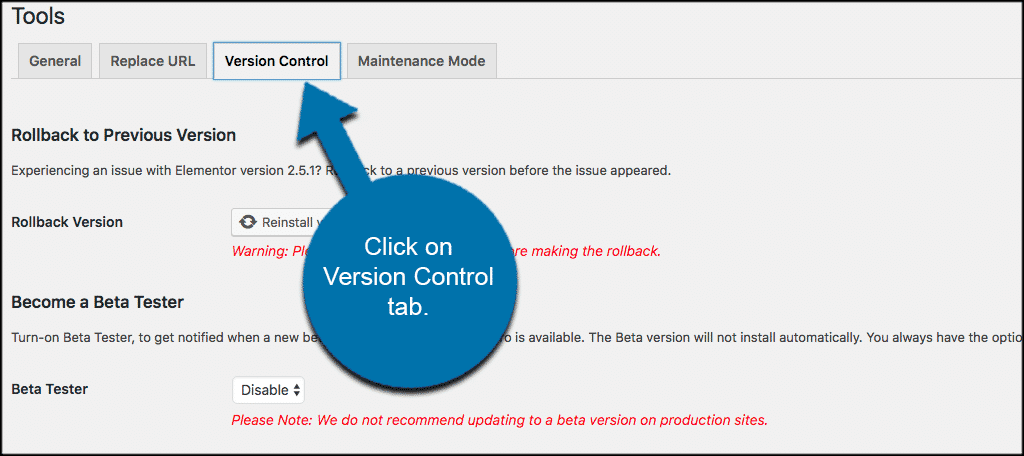Click on the elementor version control tab