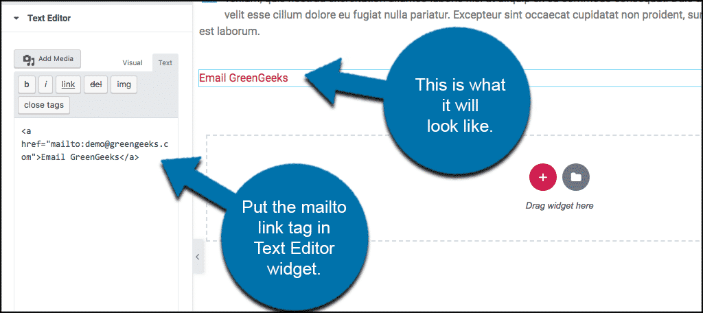 Create clickable email link tags in elementor
