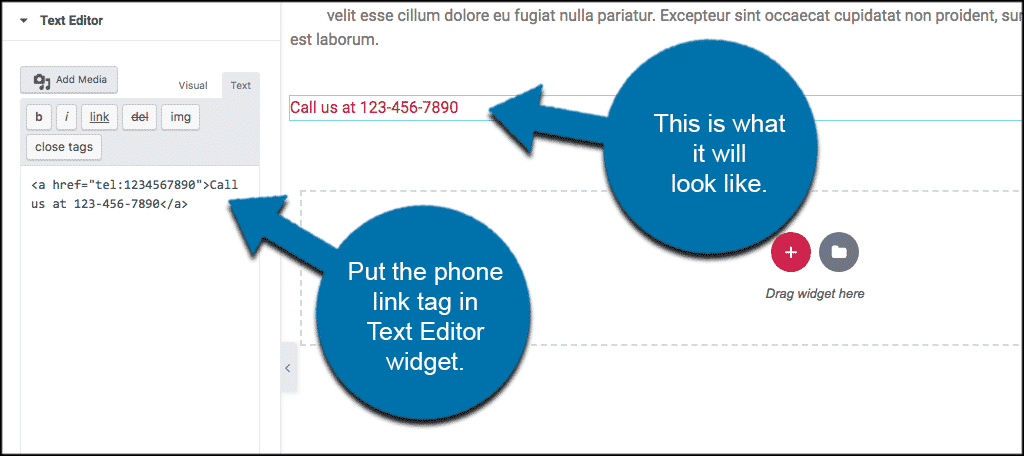 Create clickable phone link tags in elementor