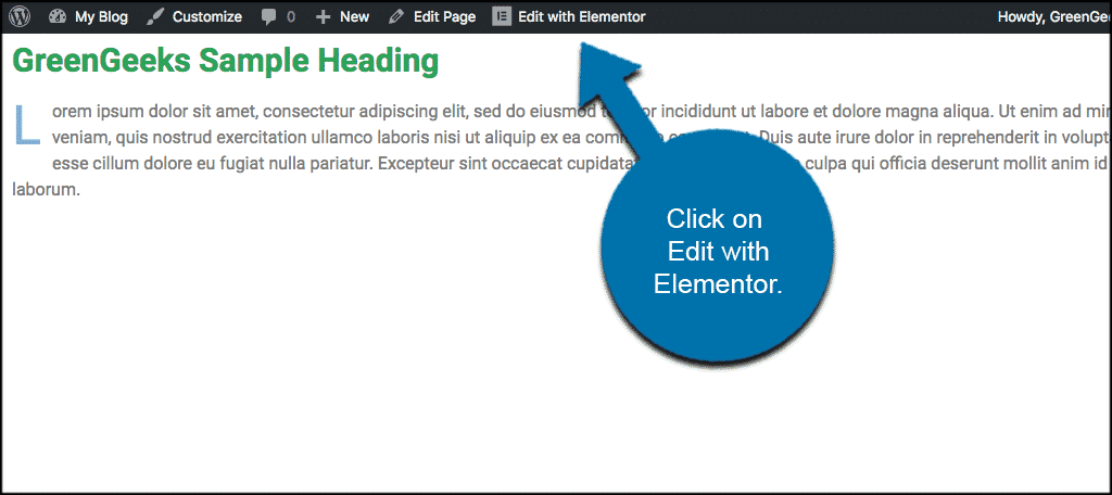 Click on edit with elementor tab