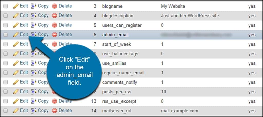 Edit Admin Email