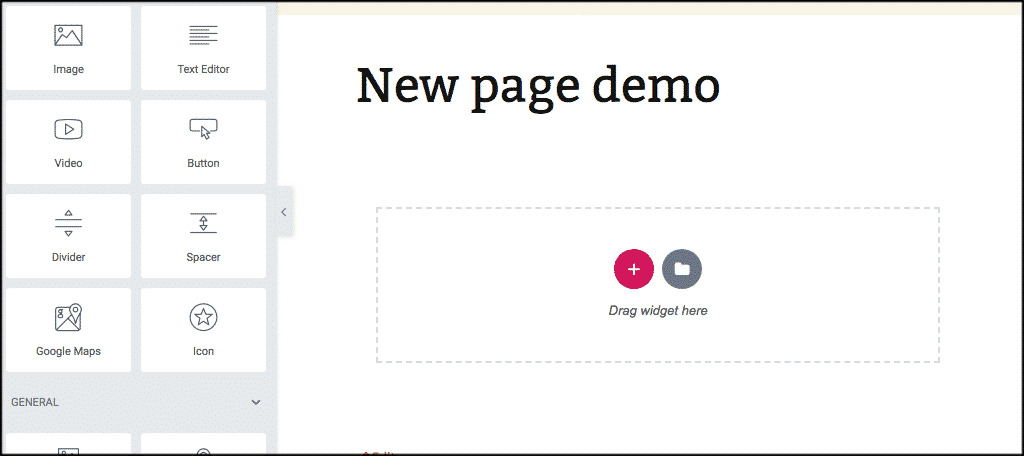 Elementor page builder canvas