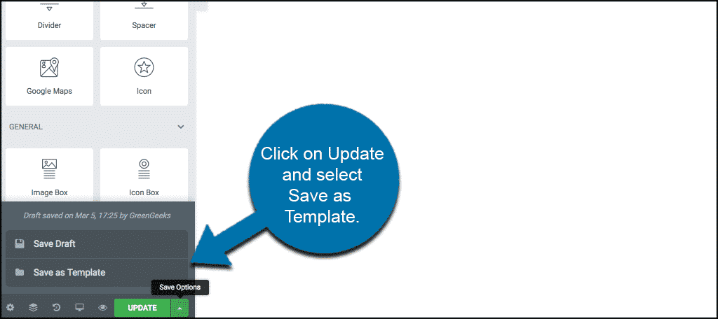 Click on Update and select Save as Template to duplicate pages in elementor