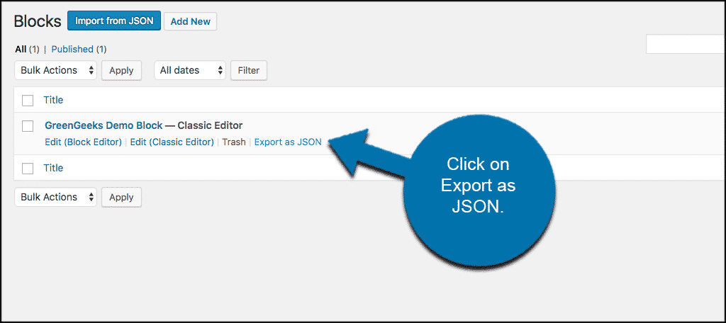 Click on the export as json link