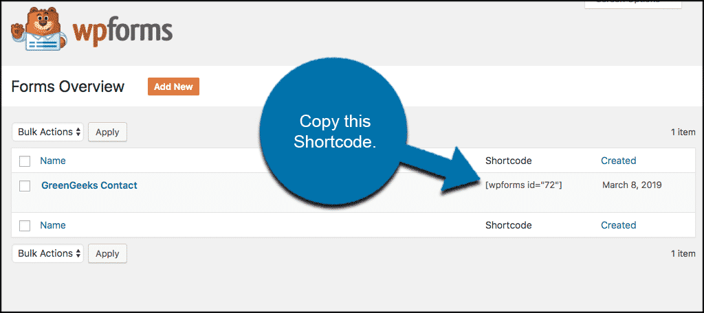 Copy the form shortcode